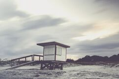 Life Guard Station on Sandy Beach Royalty Free Stock Photography