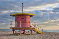 Life guard station on South Beach royalty free stock photography