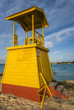 Life guard tower Barbados. Brightly coloured Life Guard tower located at Miami Beach in Barbados West indies stock photos