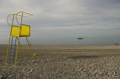 Life guard tower in the black sea Royalty Free Stock Photography