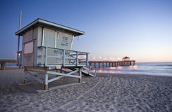 Life Guard Tower and Manhattan Beach Pier stock photo