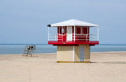 Life guard tower on Michigan beach Royalty Free Stock Image