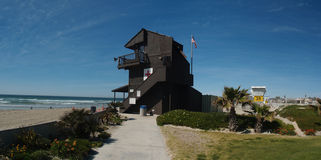 Life Guard tower on Mission Beach. Mission beach California Panoramic with lifeguard tower Royalty Free Stock Images