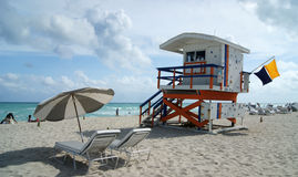 Life Guard Tower off South Beach Stock Image