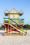 Life guard tower on South Beach, Miami, Florida. In sunset stock photography