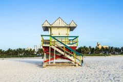 Life guard tower on South Beach, Miami, Florida. In sunset stock photo
