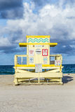 Life guard tower on South Beach  in sunset Royalty Free Stock Image