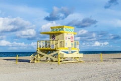 Life guard tower on South Beach  in sunset Royalty Free Stock Photos