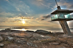 Life Guard Tower Tylösand Sweden. Life Guard Tower in Tylösand in the south west of Sweden. The image is an HDR image with a mysterious glow in the tower Royalty Free Stock Image