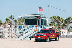 Life guard tower on a Venice beach in Los Angeles California USA. Royalty Free Stock Photo