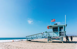 Life guard tower on a Venice beach in Los Angeles California USA. Royalty Free Stock Photos