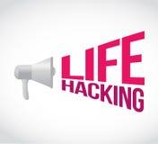 Life hacking loudspeaker message sign Stock Image