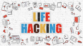 Life Hacking in Multicolor. Doodle Design. Stock Photography