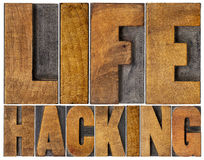 Life hacking word abstract in wood type Royalty Free Stock Image