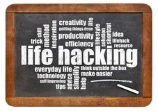 Life hacking word cloud on blackboard Stock Image