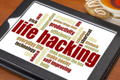 Life hacking word cloud Stock Images