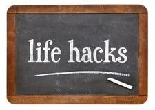 Life hacks on balckboard Royalty Free Stock Images