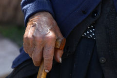 A life in a hand. Close-up on an old woman's hand royalty free stock photography
