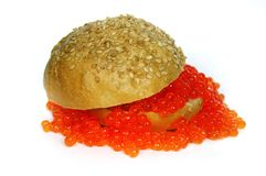 The life has gone right!. The big hamburger with red caviar Stock Image
