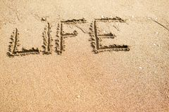 Life Health. Sand writings for message Royalty Free Stock Photos