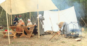 Life in historical camp Stock Image
