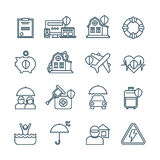 Life, house and car insurance thin line vector icons Royalty Free Stock Photography