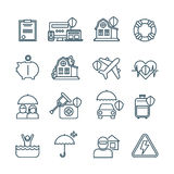 Life, house and car insurance thin line vector icons Stock Photos