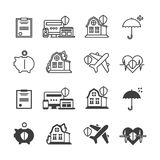 Life, house protection and safety icons set. Life, house protection and safety line icons set. Vector illustration Royalty Free Stock Photos