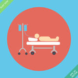 Life icons, hospitalized with serum- vector. Illustration. Flat design element Royalty Free Stock Photos