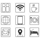Life icons set in flat black and white. vector illustration