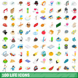 100 life icons set, isometric 3d style. 100 life icons set in isometric 3d style for any design vector illustration Stock Photos