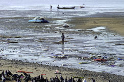 Life in India, fishermen at the beach Stock Photo