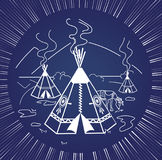 Life indigenous people silhouette. Illustration of life indigenous people in the form of a wigwam, a deer. Icon, silhouette in the linear style stock illustration