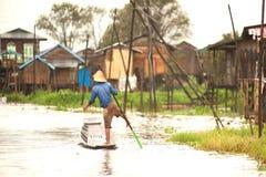 Life in Inle lake,Myanmar. Royalty Free Stock Photo