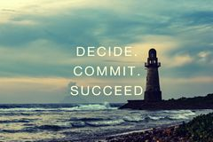 Free Life Inspirational Quotes - Decide, Commit, Succeed Stock Photo - 154050360