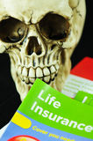 Life insurance. Human skull with glasses reading life insurance information Stock Photo
