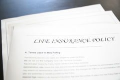 Life insurance. Closeup of a life insurance policy Royalty Free Stock Photo