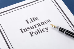 Life Insurance. Document of Life Insurance Policy for background Stock Images