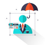Life insurance concept – Life and Health care info graphics elements in flat style icons such as umbrella, insurance card. Royalty Free Stock Photos