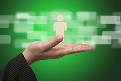 Life Insurance Concept. Hand Hold Person using as Life Insurance and Business Risk Concept Stock Photography
