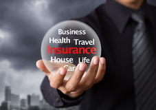 Life insurance concept. Wording in glowing crystal ball, Life insurance concept Royalty Free Stock Photography
