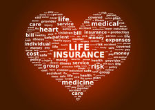 Life insurance concept. Cloud tags over red background Stock Photo