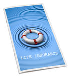 Life Insurance Cover Brochure. A life insurance brochure with life preserver ring on the cover isolated on white Royalty Free Stock Image