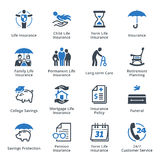 Life Insurance Icons - Blue Series. This set contains Life Insurance Icons that can be used for designing and developing websites, as well as printed materials Royalty Free Stock Photography