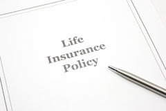 Life Insurance Policy with a pen to sign. Royalty Free Stock Photo