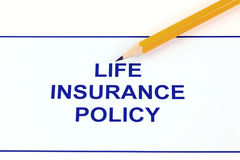 Life insurance policy. With pencil Stock Image