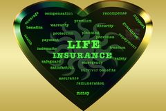 Life insurance premium benefits protection support security planning assurance safety indemnity. Life insurance premium benefits support security planning Stock Photo