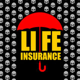 Life insurance. Protection against accident and death.. Umbrella protects from rain of skulls. Concept  Poster for insurance company Stock Photography