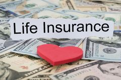 Life insurance text on piece of paper Royalty Free Stock Photo