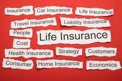 Life insurance text on piece of torn paper Royalty Free Stock Photography
